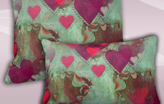 Floating Hearts Abstract Love Decorative Cushion