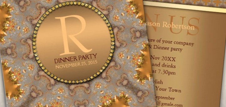 Moroccan Star Dinner Party Gold Invitation