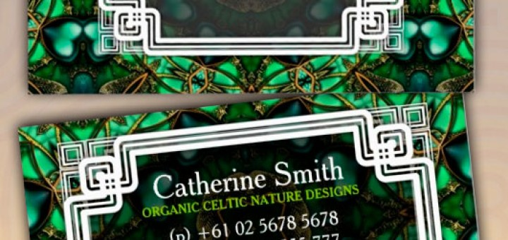 Organic Forest Green Gold Celtic Business Cards by onlinecards