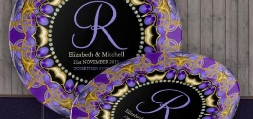 Purple Gold Lace Monogram Wedding Anniversary Gift custom Porcelain Plates