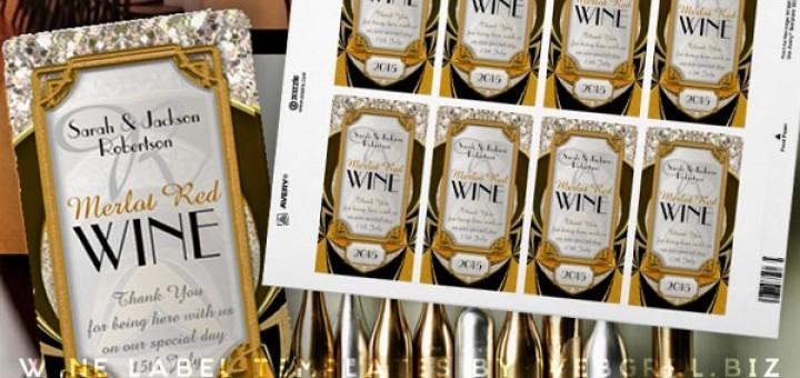 Super Stylish Gold Black Art Deco Wine Labels Personalized Wine Bottle Labels