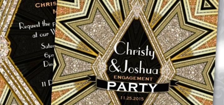 Art Deco Glam Sparkle Engagement Party Invitation