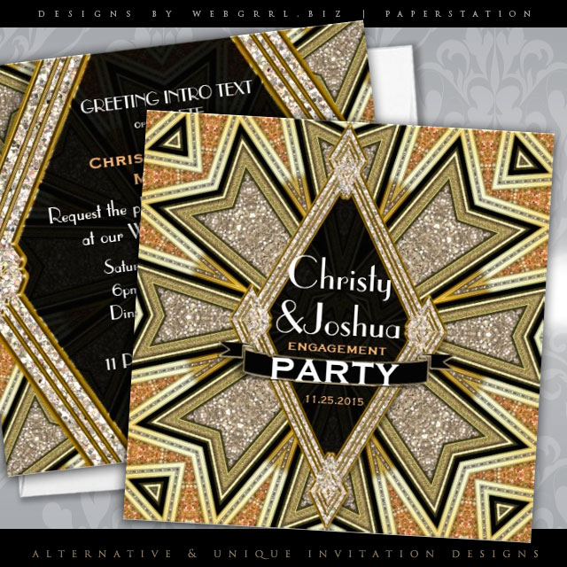 Art Deco Glam Sparkle Engagement Party Invitation