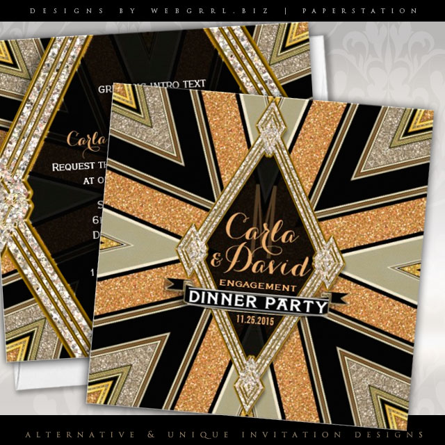 Art Deco Goldy Engagement Dinner Party Invitations