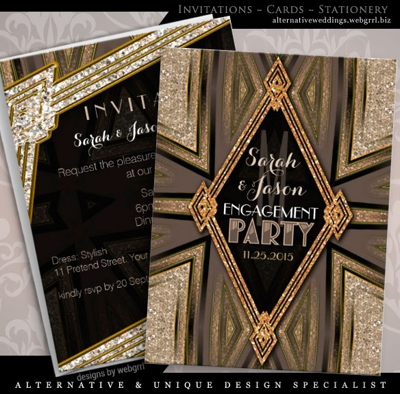 ArtDeco Rustic Gold Romance Engagement Party Invitations