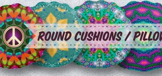 Artistry Round Pillows / Cushions by Webgrrl
