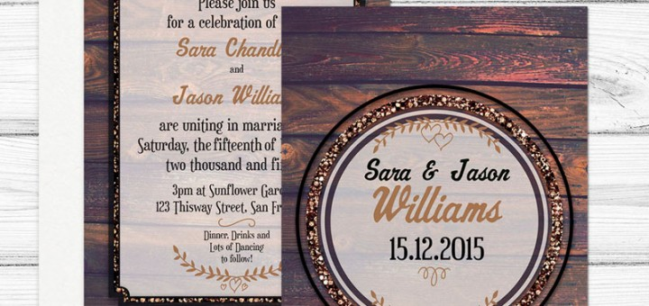 Hipster Rustic Wood Wedding Invitation