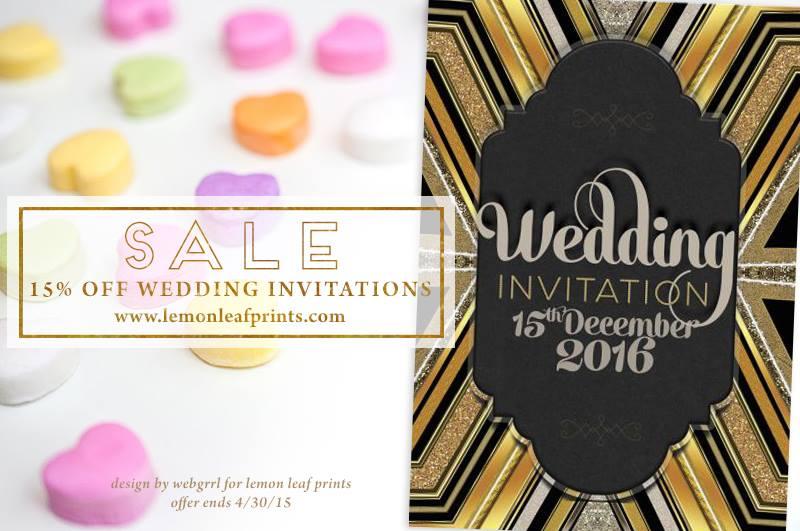 Wedding Sale - 15% Off all Wedding Invitations