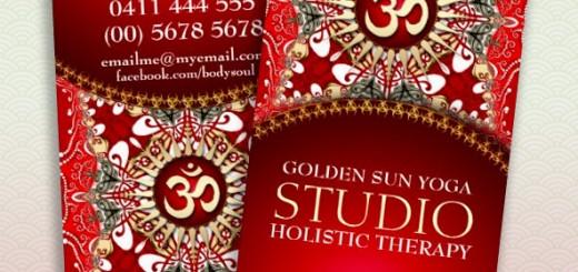 Red Batik Bohemian Om Yoga Business Card