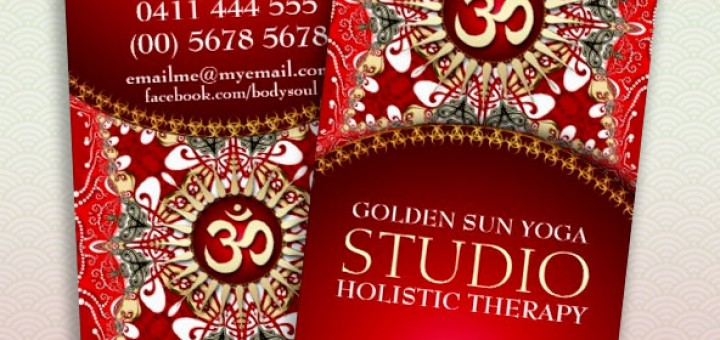 Red Batik Bohemian Om Yoga Business Card