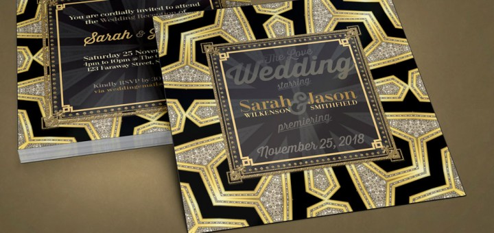 Black Gold Art Deco Glam Wedding Invitation
