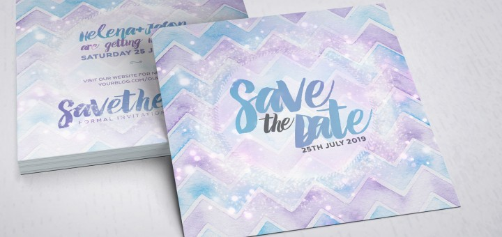 Save the Date | Purple Aqua Chevron Stardust Announcement