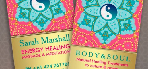 yinyang pink and gold business card