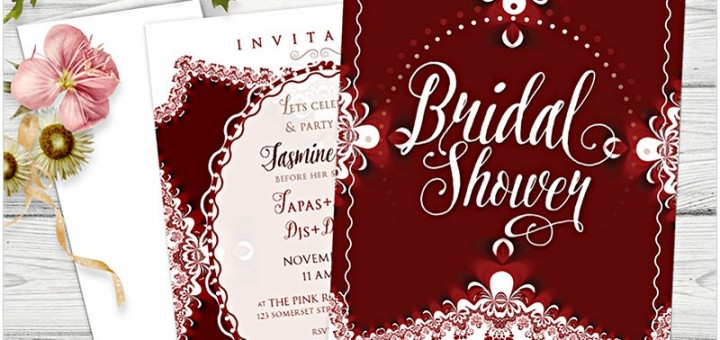Bohemian Lace Red and White Bridal Shower Invitation