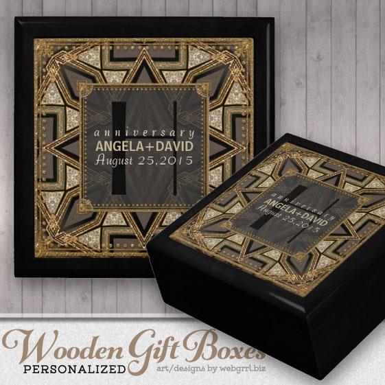 mediev_art_deco_black_gold_wedding_anniversary_box_gift_box