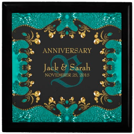 teal_gold_lace_wedding_anniversary_gift_box
