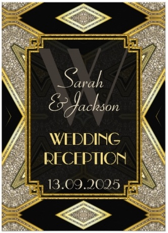 Art Deco Gold Black Wedding Reception Invitations