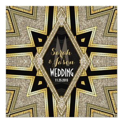 Art Deco Goldy Diamonds Wedding Invitations