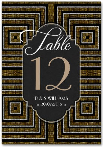 ArtDeco Bronze Gold Wedding Table Number Cards by Webgrrl
