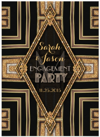 ArtDeco Modern Black Gold Engagement Party Card by AlternativeWeddings