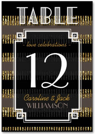 Black Gold Stripes + Art Deco Table Number Cards