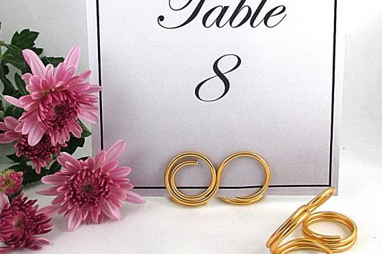 Infinity Table Number Holder, Wedding Table Number Stand, Set of 6