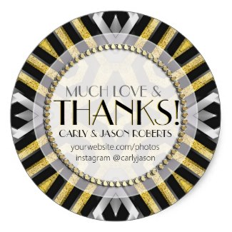 Metallic Gold Silver Much Love & Thank You Sticker