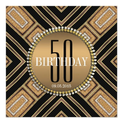 Modern Art Deco Gold 50th Birthday Invitation