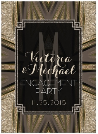 Shimmer Chic Art Deco Engagement Party Invitations by AlternativeWeddings