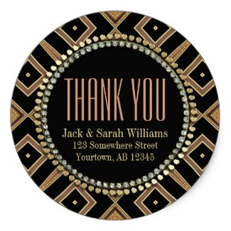 Squaza Art Deco Gold Black ThankYou Round Stickers by Webgrrl