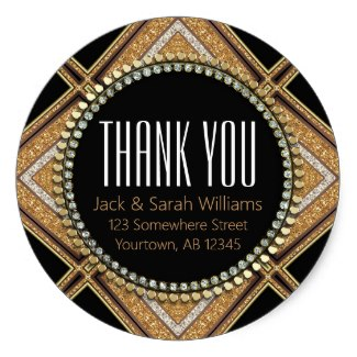 Squaza-D Art Deco Gold Black Thank You Round Classic Round Sticker