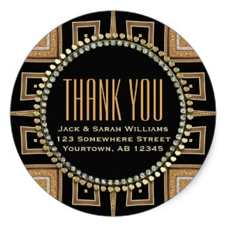 Squaza-sq Art Deco Gold Black Thank You Round Sticker