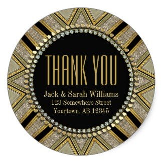 Starzi Art Deco Gold Black ThankYou Round Stickers