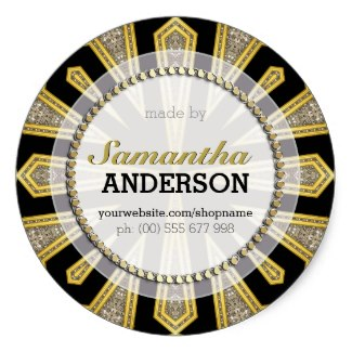 Stylish ArtDeco Gold Black Made By Labels Stickers
