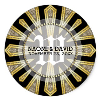 stylish_artdeco_gold_monogram_wedding_sticker