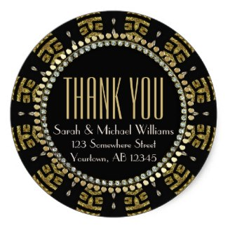 Tribal Art Deco Gold Black Thank You Round Sticker