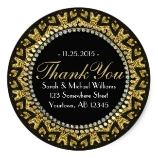 Tribal HeART Deco Gold Black Thank You Stickers