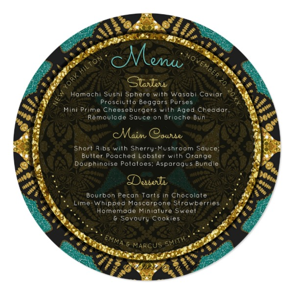 Teal Black Gold Eastern Round Wedding Menu Cards by AlternativeWeddings
